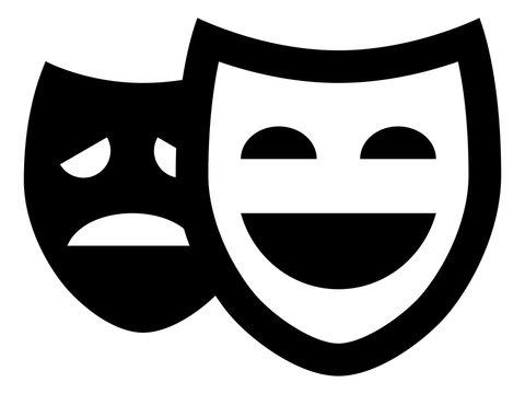 Drama Theater Masks Vector Icon