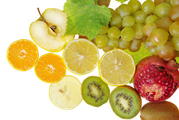 Grapes, oranges, citrons, kiwi, apples, pomegranates. Isolated on white