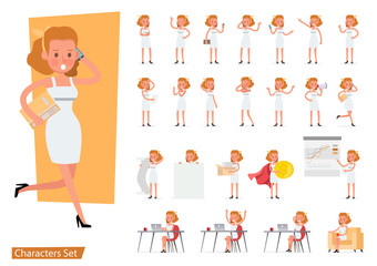 Worker woman character vector design. Presentation in various action with emotions, running, standing, walking and working.