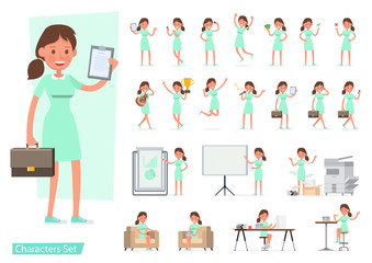 Worker woman character vector design. Presentation in various action with emotions, running, standing, walking and working. no2