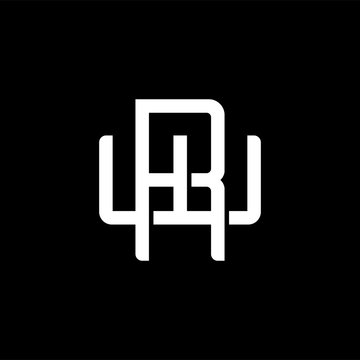 Initial letter W and R, WR, RW, overlapping interlock monogram logo, white color on black background