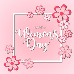 Happy Mother's day! Vector lettering illustration with flowers on pink background