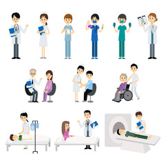 Medical doctor and nurse with patient treatment and examination. Vector illustration.