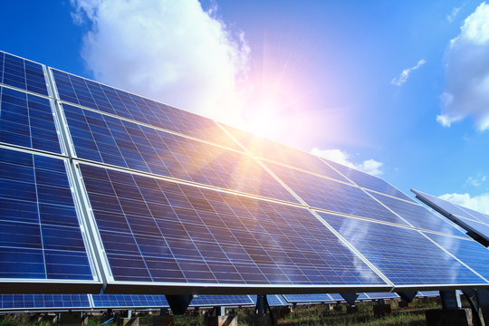 Solar panel, alternative electricity source - concept of sustainable resources, And this is a new system that can generate electricity more than the original, This's the sun tracking systems