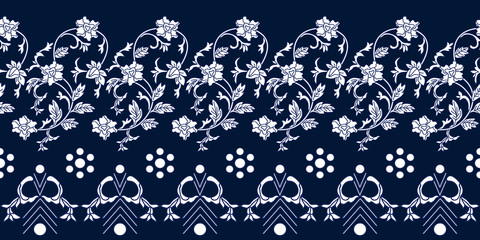 Seamless blue white border with Chinese motifs.