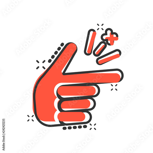 Finger snap icon in comic style  Fingers expression vector cartoon