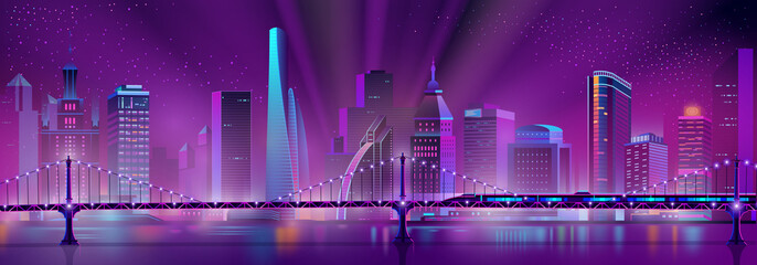 Canvas Prints Violet Vector modern megapolis background with bullet train on the bridge over the river. Speed railroad vehicle and purple glowing buildings. Urban skyscrapers in neon colors, town exterior.