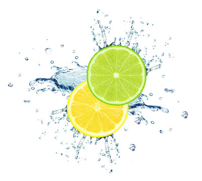 lime and lemon slice water splash isolated on white