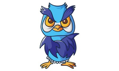 Vector cartoon illustration of cute Owl angry. Isolated on white background.