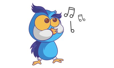 Vector cartoon illustration of cute Owl singing. Isolated on white background.