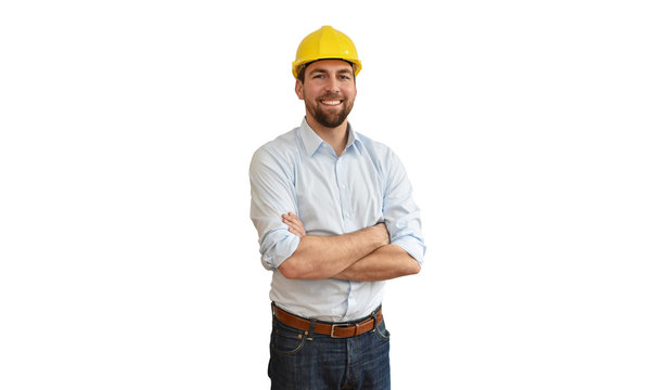 portrait of a successful engineer in mechanical engineering in industry on white background