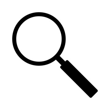 Magnifying glass search or detective investigation flat vector icon for apps and websites