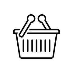 Black line icon for shopping