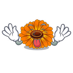 Tongue out calendul flower tree is character shape
