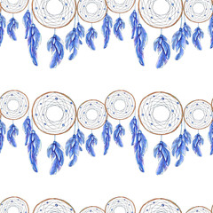 Watercolor Dreamcatcher and feather pattern.