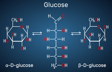 Glucose (dextrose, D-glucose) molecule. Сyclic and acyclic forms. Structural chemical formula on the dark blue background