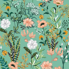 Beautiful garden blooming flower in many kind of floral seasonal seamless pattern vector ,hand drawing style for fashion, fabric and all prints