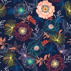 Line Hand sketch blooming garden flower contrast colorful seamless pattern vector for fashion fabric and all prints