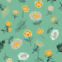 Sweet pastel Seamless pattern Vector Embroidery trend floral with branch of tropical bloomong flowers.For fashion,fabirc and all prints
