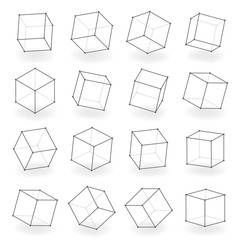 3d modeling square line isolated blocks isometric design vector illustration