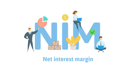 NIM, Net Interest Margin. Concept with keywords, letters and icons. Colored flat vector illustration. Isolated on white background.