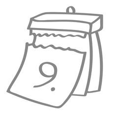 Handgezeichneter Kalender - Tag 09 in grau