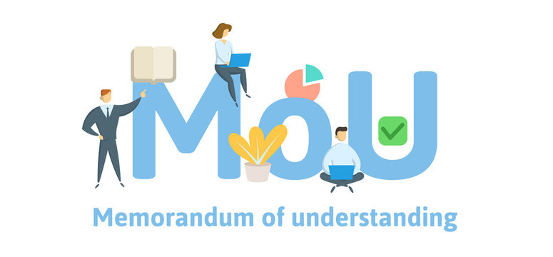 MoU, Memorandum of Understanding. Concept with keywords, letters and icons. Colored flat vector illustration. Isolated on white background.