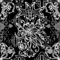 Seamless pattern with gothic fantasy crosses with lily and roses on black. Fantasy decorative illustration, vector gothic symbols, occult abstract background