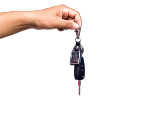 Male holding car keys, isolated on white background.