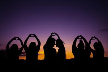 Romance at sunset time