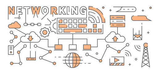 Internet And Networking Flat Line Design With Flat Orange Color. Youthful Geometric Doodle With Technology Theme