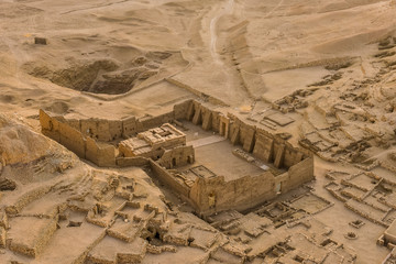 A temple among the ruins at the village of the Workers at Deir El-Medina