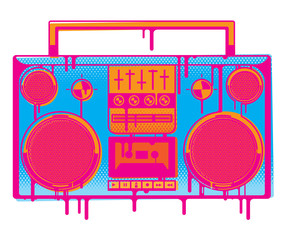 An old school stereo boom box in a stylised graffiti style with dripping paint.