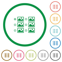 Single image selection with radio buttons flat icons with outlines