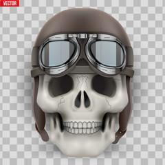Human skull with retro aviator or biker helmet.