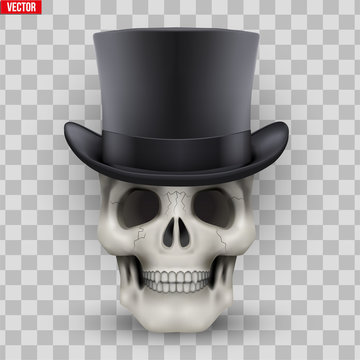 Human skull with black cylinder hat