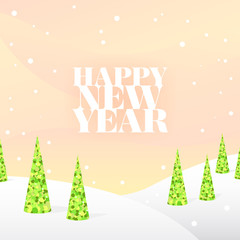 Winter light square background with snow, green trees and text.