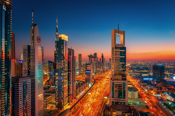 Beautiful rooftop view of Sheikh Zayed Road and skyscrapers in Dubai, United Arab Emirates