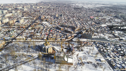 winter pano of city air photo showed from drone