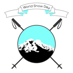 World Snow Day. Day of winter sports. Round logo - mountains, crossed ski poles, ribbon with event name.