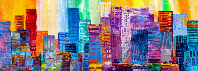 Abstract painting of urban skyscrapers. Wall mural