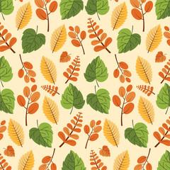Autumn seamless pattern. Seamless leaf pattern.Leaf background.
