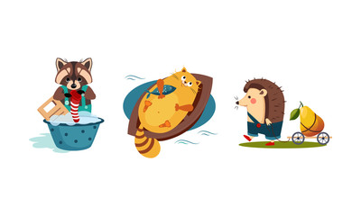 Cute funny animals characters in different actions, raccoon washing clothes in a basin, cat catching a fish in the boat, hedgehog carrying the cart with pear vector Illustration
