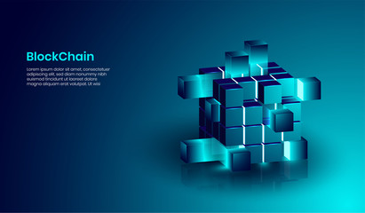 Isometric blockchain and cryptocurrency technology concept, realistic shape of blockchain connected together. vector