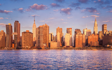 View of Mid Town and East River, New York City, USA