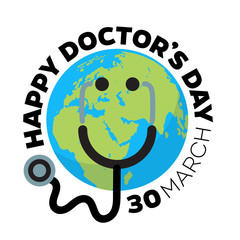 Doctors day greeting card design with stethoscope like smiling face on cartoon Earth background.