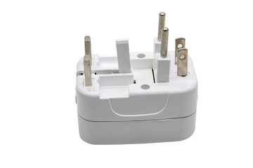 Universal adaptor isolate on white background with clipping.