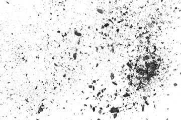 Black charcoal dust, gunpowder explosion texture isolated on white background, top view