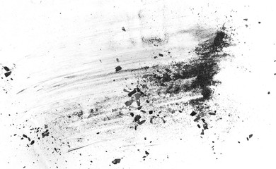 Black charcoal dust, gunpowder explosion texture isolated on white background, top view Wall mural