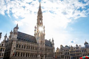 Brussels, Grand Place buildings in beautiful summer sunrise, Belgium.jpg
